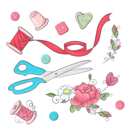 A set of sewing accessories. Hand drawing. Vector illustration. Çizim