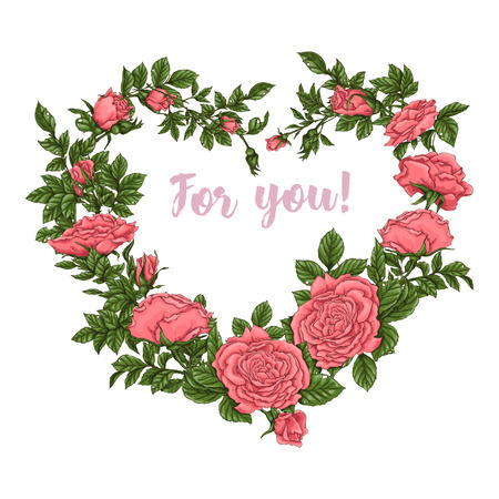 Postcard coral roses. Hand drawing Vector illustration.