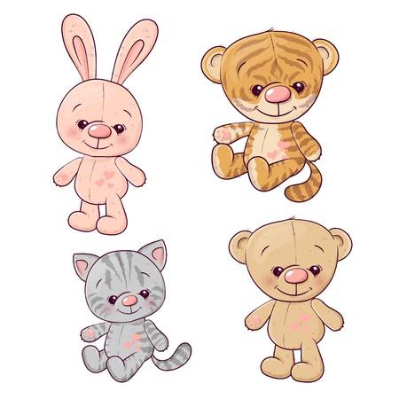 Ensemble tigre cub chaton ours en peluche lièvre. Dessin à main levée. Illustration vectorielle.
