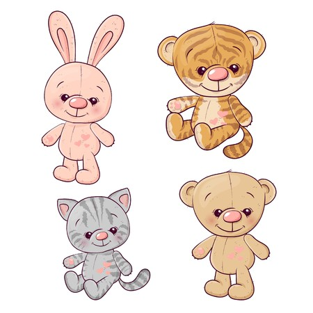 Set tiger cub kitten teddy bear hare. Hand drawing. Vector illustration.