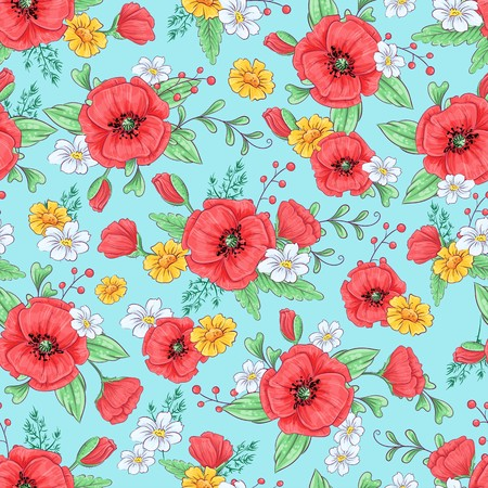 Red poppies and daisies seamless pattern. Hand drawing. Vector illustration.