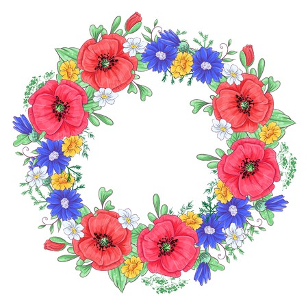 A wreath of red poppies and daisies. Hand drawing Vector illustration.