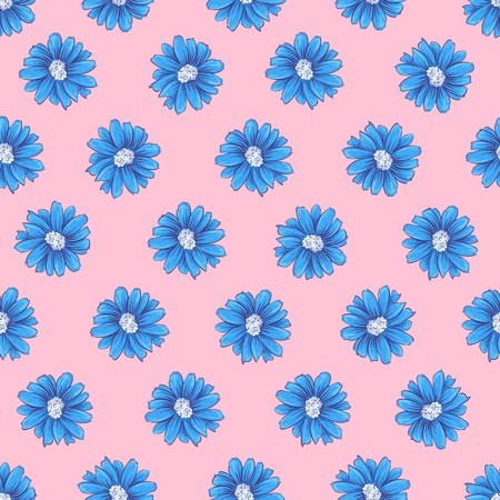 Wild flowers seamless pattern. Hand drawing Vector illustration. Ilustracja