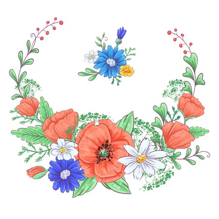 Set of red poppies and daisies. Hand drawing. Vector illustration. Ilustracja