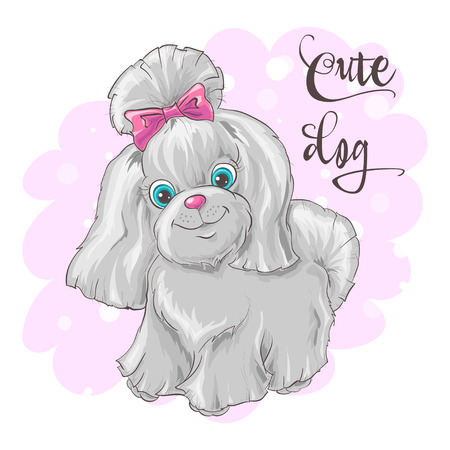 Illustration of a cute little dog. Print for clothes or children room.  イラスト・ベクター素材