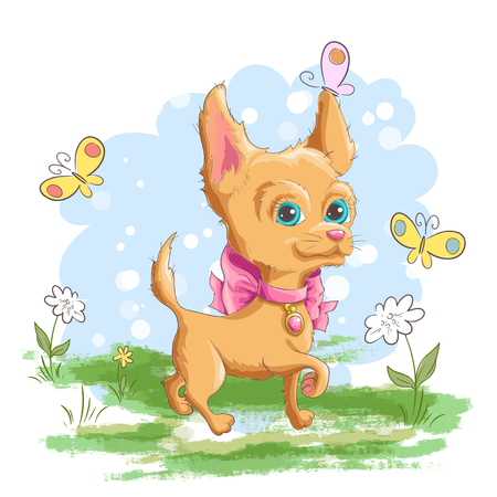 Illustration of a cute little dog with flowers and butterflies. Print for clothes or children's room. Vectores