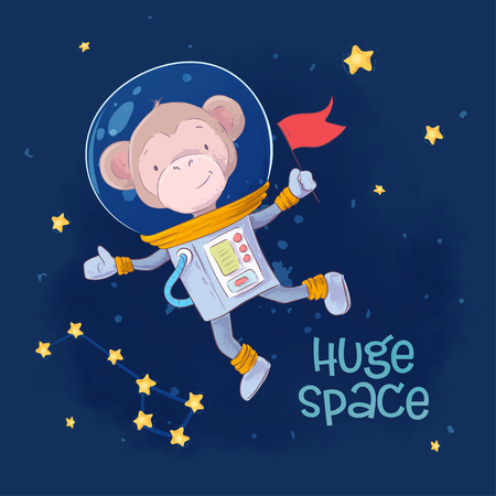 Postcard Poster cute monkey astronaut in space with the constellations and stars in a cartoon style. Hand drawing. Vector.  イラスト・ベクター素材