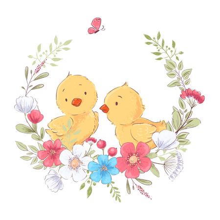 Postcard poster cute little chickens in a wreath of flowers. Hand drawing. Vector.