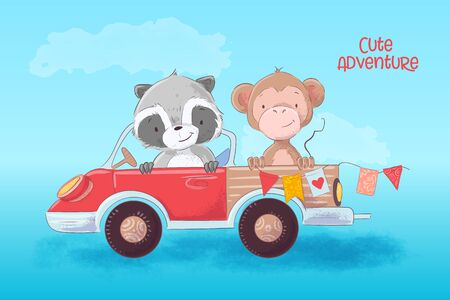 Cartoon illustration of a cute raccoon and monkey on a truck. Vector illustration
