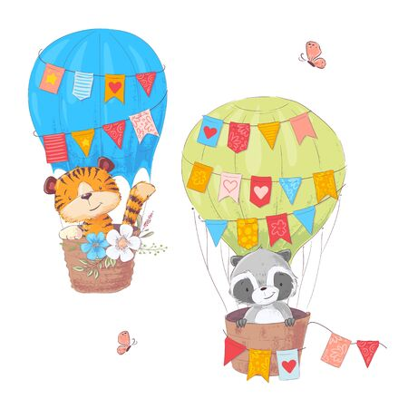 Set of cartoon cute animals Lion and raccoon in a balloon with flowers and flags for children illustration. Vector in hand drawing style.