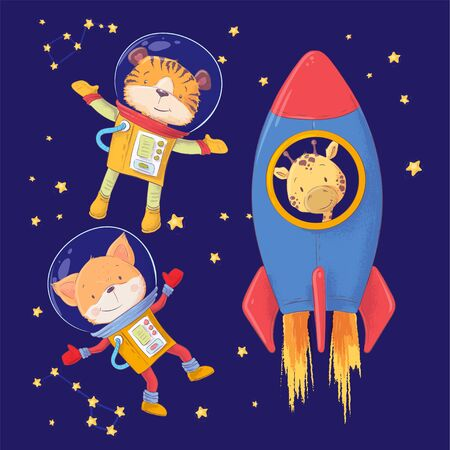 Cute cartoon illustration set animals astronauts tiger fox and giraffe style hand drawing. 스톡 콘텐츠
