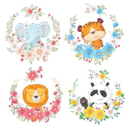 Set of cartoon cute animals elephant tiger lion and panda in flower wreaths for kids clipart.
