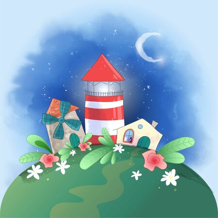 Cute cartoon small town lighthouse, mill and house with flowers, postcard print poster for the children s room.  イラスト・ベクター素材