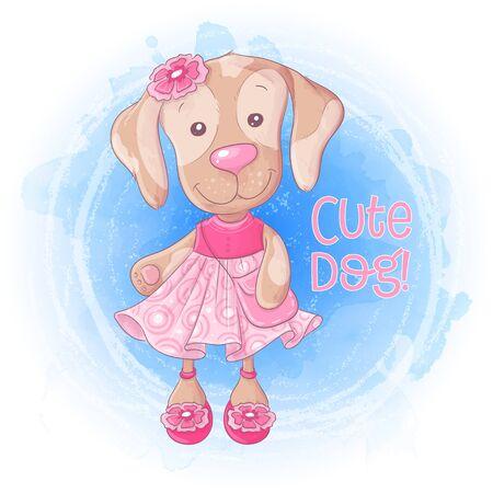 Cartoon  dog with a handbag in a pink dress.