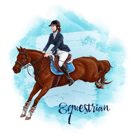 Woman Horseback Riding. Equestrian Sport. Reklamní fotografie - 132219433