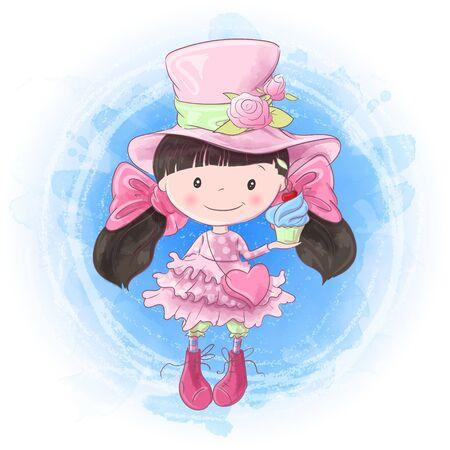 Cute cartoon girl hand drawing. Vector illustration
