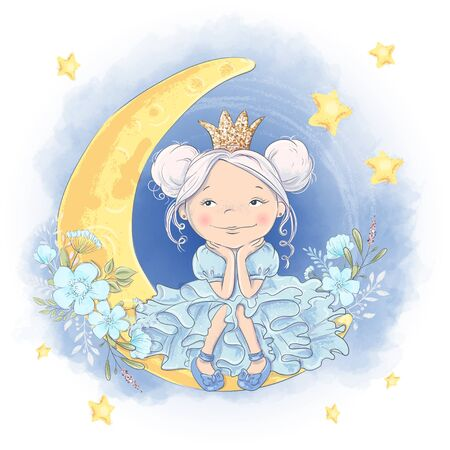 Greeting card cute cartoon princess on the moon with a shiny crown and moon flowers.