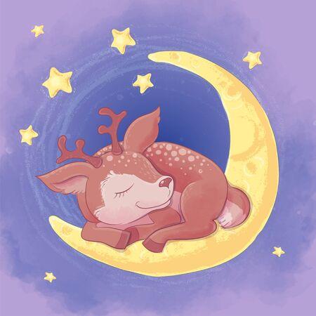 Postcard cute cartoon deer sleeping on the moon.
