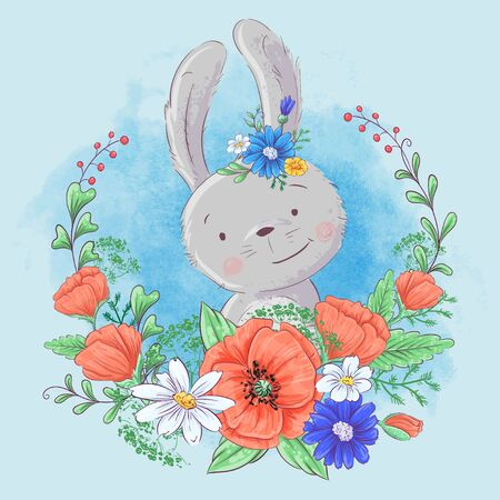 Cute cartoon bunny in a wreath of poppies and daisies, wildflowers. Vector illustration