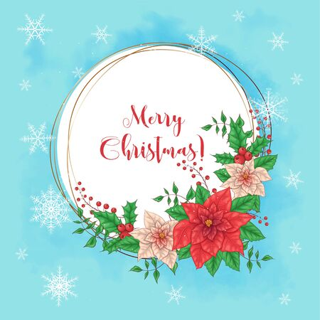 Cute christmas card with poinsettia wreath and place for text. Vector illustration. Standard-Bild - 129263342