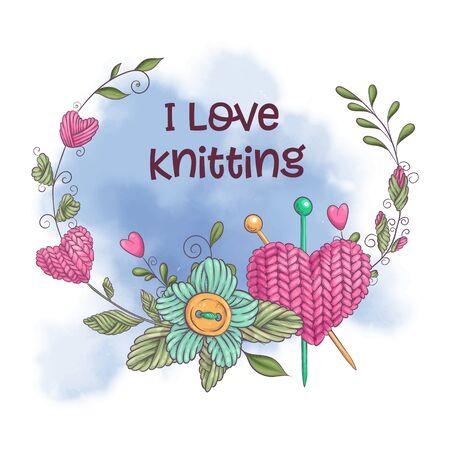 Cartoon watercolor wreath of knitted elements Vector illustration Ilustração