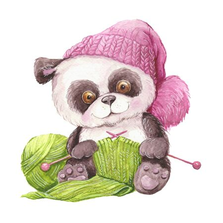 Watercolor cute cartoon panda in a knitted hat with a ball of yarn and knitting.  illustration