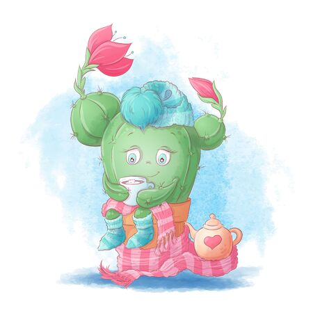 Cute cartoon cactus girl drinks cocoa in a scarf and hat. Vector illustration Иллюстрация