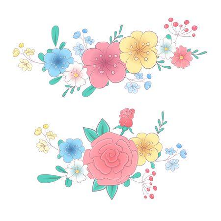 Cartoon hand drawing flower bouquets set. Vector illustration