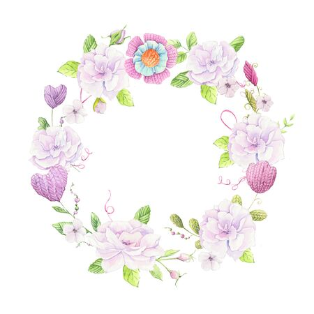 Cartoon wreath of knitted elements and accessories and spring flowers. Hand drawing. illustration