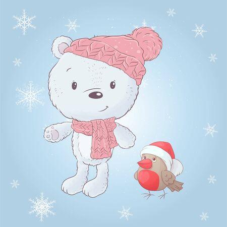 Cute cartoon white bear in a hat with a bullfinch. Vector illustration.