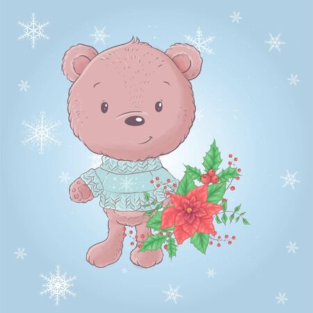 Cute cartoon bear with a bouquet of poinsettia. Vector illustration. 일러스트