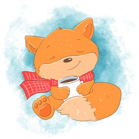 Cute cartoon fox with a cup. Vector illustration.