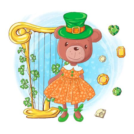 Cute cartoon girl bear in a leprechaun hat with harp and precious stones, card for St. Patrick's Day. Vector illustration.