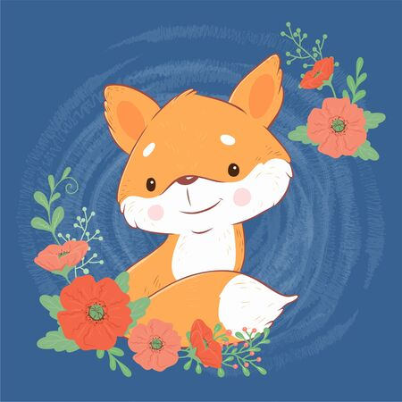 Cute cartoon fox with a bouquet of poppies 일러스트