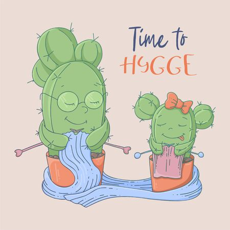 Cute cartoon postcard cacti grandmother and granddaughter learn to knit