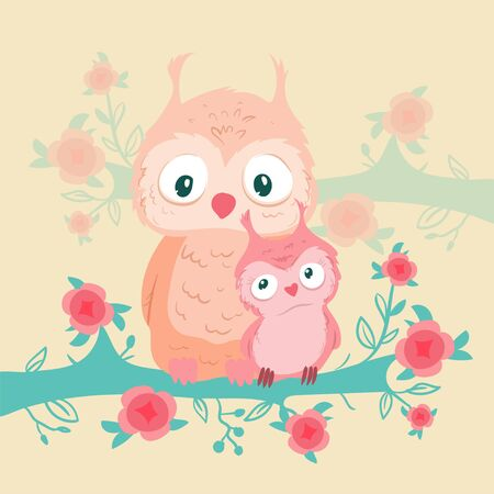 Cute cartoon owls mom and baby on a branch with roses for Valentines Day. Vector illustration