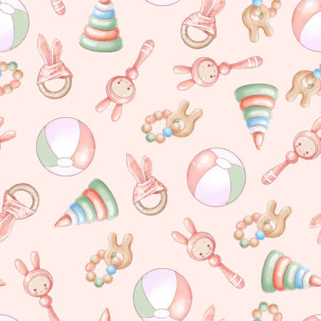 Seamless pattern newborn baby shower birthday. Hand drawing