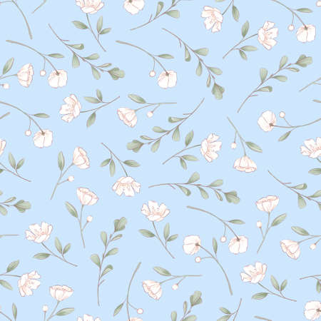 Seamless pattern of delicate roses. Hand drawing