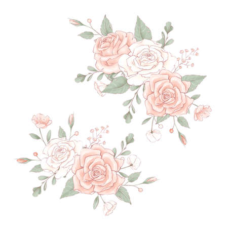Bouquet a wreath of delicate roses. Hand drawing 免版税图像