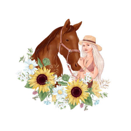 Portrait of a horse and a girl in digital watercolor style and a bouquet of sunflowers and daisies