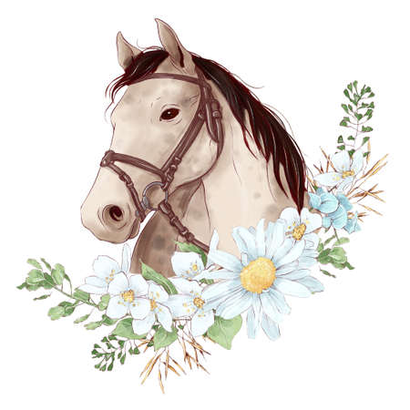 Horse portrait in digital watercolor style and a bouquet of daisies