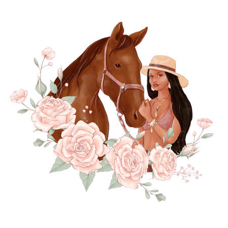 Portrait of a horse and a girl in digital watercolor style and a bouquet of roses