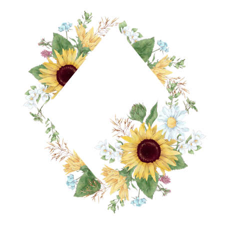 Frame in digital watercolor style of sunflowers and daisies 免版税图像