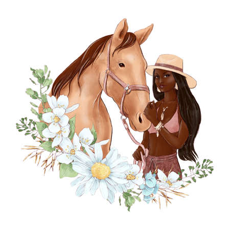 Portrait of a horse and a girl in digital watercolor style and a bouquet of daisies
