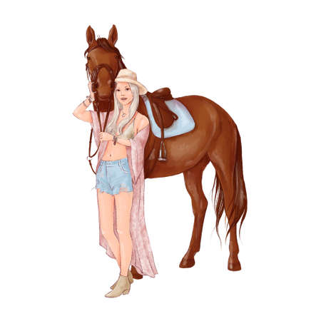 Portrait of a horse and a girl in digital watercolor style