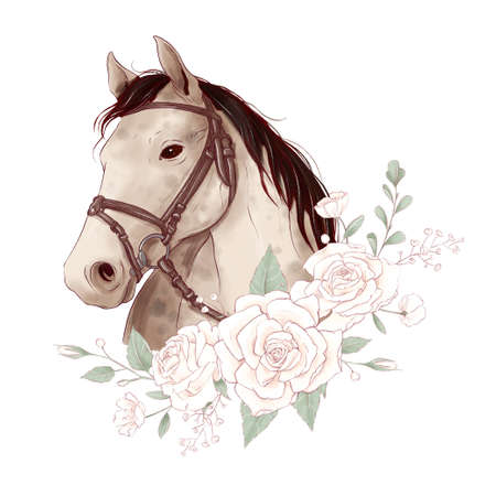 Horse portrait in digital watercolor style and a bouquet of roses