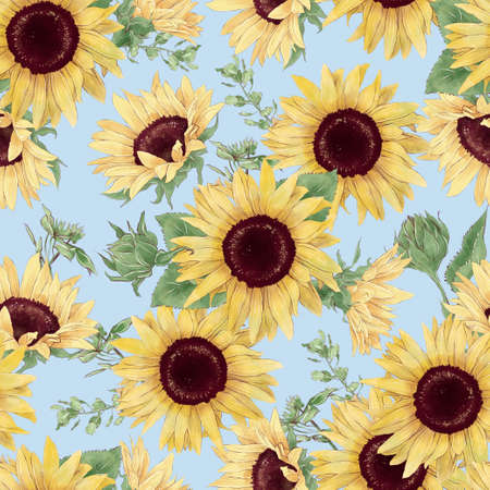 Seamless pattern of sunflowers and wildflowers in digital watercolor style