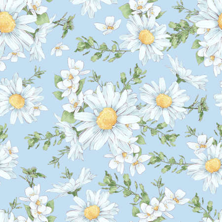 Seamless pattern of daisies and wildflowers in digital watercolor style 免版税图像