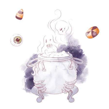 Cute character witch cauldron, watercolor illustration for halloween 免版税图像