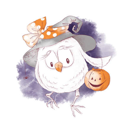 Cute character witch owl, watercolor illustration for Halloween
